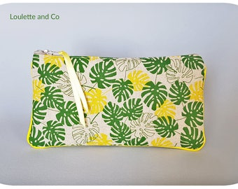 Glasses case, case school, makeup zipper pouch and tropical green and yellow patterned linen