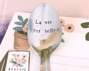 """Spoon to give to a friend, girlfriend, daughter, child """"life is beautiful!"""" - spoon engraved"""