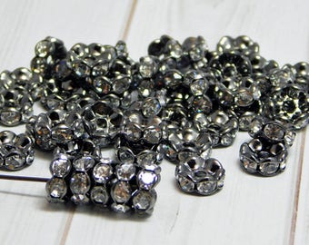 25 or 50 - 8mm Rhinestone Spacers - Gunmetal Spacer Beads - Crystal Rhinestone - Crystal Spacers - Rhinestone Rondelles - (5818)