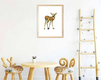 Nursery Art, Nursery Print, Deer Art, Deer Print, Printable Art, Baby Deer Print, Watercolor Deer Print, Nursery Decor, Baby Animal Art