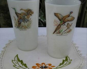 Fire King Game Bird Series Milk Glass Tumblers - Set of 2; MCM Glassware, MCM Glass Tumbler, Vintage Fire King, Cabin Decor, Farmhouse Style