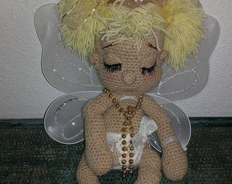 Little blonde Angel wool crocheted 36 cm.
