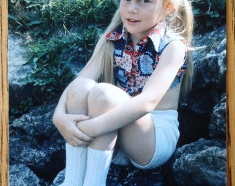 Color Photo Pretty Young Girl Sitting on the Rocks Printed from Vintage Slide from 1960s