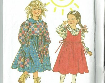 New Look 6297 Girl's Dress, Blouse and Pinafore Dress Size 3-8 Unused Sewing Pattern