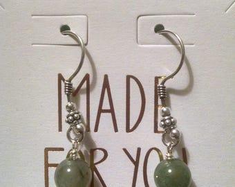 Green Adventurine and Fancy Jasper Antiqued Sterling Silver Earrings