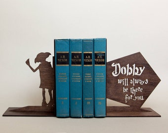 Dobby is a free elf birthday gift, Dobby house elf decor art, Dobby sign, Harry Potter bookends, Harry Potter decor birthday gift