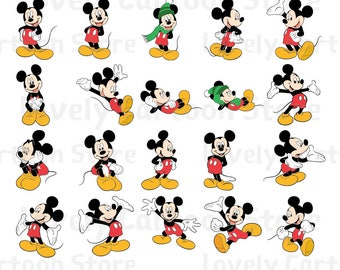 Mickey Mouse Svg, Eps, Dxf and Png formats - 20 Postures Clipart - Digital Download - Mickey Mouse X 20 Set A