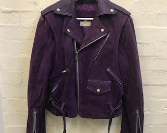 RARE 80's 90's Purple Suede Leather Biker Motorcycle Jacket WEAR 2-WAYS Also Sleeveless Vest