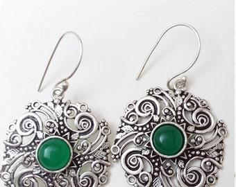 sterling Green onyx earrings beautiful delicate scroll work details