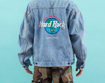 Vintage 90s, Hard Rock Cafe, London, Denim Jacket, Save The Planet, Spring Jacket, Embroidered, 90s Clothing, 90s, Vintage Jacket, Hard Rock