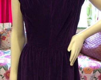 1960's purple velvet mini dress