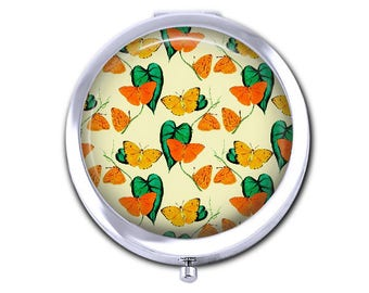 Butterfly pocket mirror compact mirror, bridesmaid gift, orange butterflies mothers day gift for her, silver purse mirror.