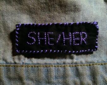 Pronoun patch -- She / Her