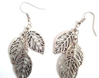 Handmade earrings with leaves