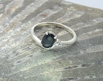 Midnight Blue Sapphire and Diamond Ring Rhodium Plated/Free Shipping US/ Vintage/September Birthstone/ Christmas/Birthday/Valentine