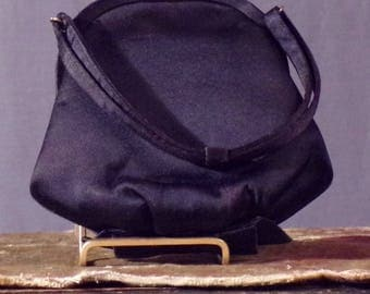 Vintage 1950s Purse. 50s Black Satin Purse with Bow Detail by Morris Moskowitz.