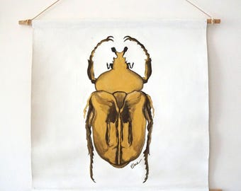 Oil and acrylic painting Gold Scarabee Scarabe Insect Animal Deco Original hanging wall Zen Nature art Boheme
