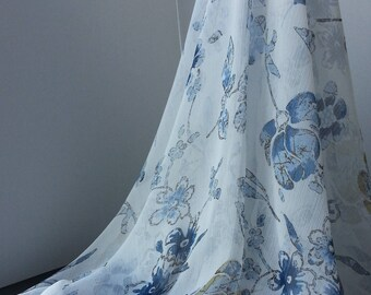 1yd (0.91m) of chiffon print fabric- White with blue floral pattern - 114cm(45inch) Wide,RL_C004