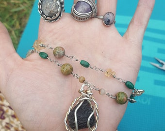 Extraterrestrial - Moldavite wire wrapped pendant on hand beaded gemstone chain