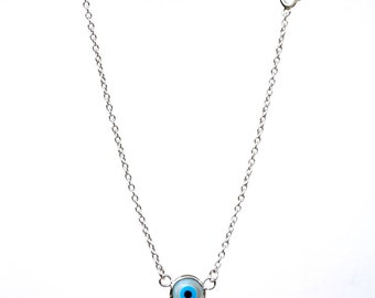 Evil Eye Necklace, Sterling Silver 18K White gold plated Necklace, Fashion Jewelry