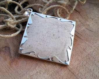 Silver Wave Frame Pendant/White Limestone Necklace/Stone Pendant/Gift for Her/Birthday Gift