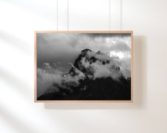 Fog Mountain Printable, Mountain Print, Minimalist, Black and White, Mountain Range, Printable Art, Nature Landscape, Scandinavian Poster