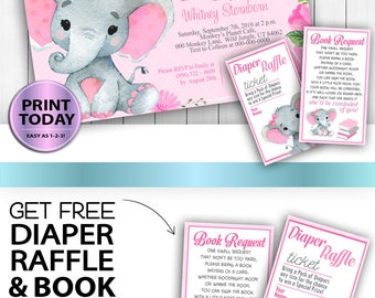Elephant baby shower invitation, instant download template,Pink Gray, printable invitation, free printables, diaper raffle DIY, book request
