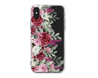 iPhone 8 Case Roses iPhone 7 Case Floral iPhone 7 Plus Case iPhone 6 Case Rose iPhone 6s Case iPhone Clear Case iPhone 8 Plus Flowers BD1030