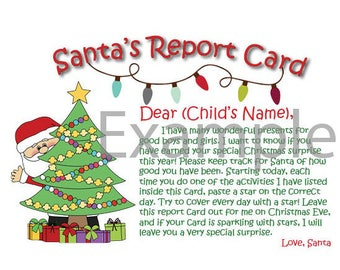 Childs letter santa etsy personalized santa report card letter from santa a good behavior activity for your spiritdancerdesigns Gallery