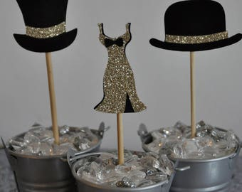 top hat and glamour cupcake toppers