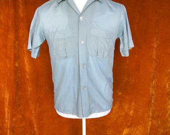 Vintage 1970s, Baby Blue, Men's Soft Short Sleeve Shirt, Button Up Shirt