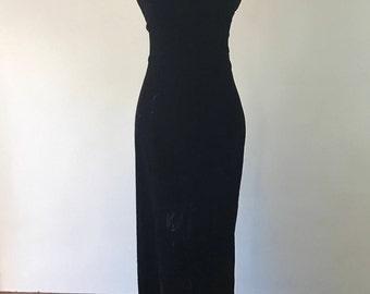 Vintage 1990s, Velvet Dress, Women's Long Black Dress, Formal Dress