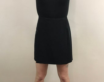 Vintage 1990s, High Waisted Women's Black Skort, Wrap Skirt