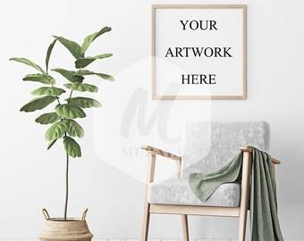 Wood Frame Mockup, Light Wood Square Frame, Styled Stock Photograpy, Scandinavian Style Interior, PSD Mockup, Digital Item, Modern Design