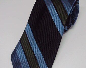 1980's Traditional Skinny Preppy Blue Striped Tie Prep School