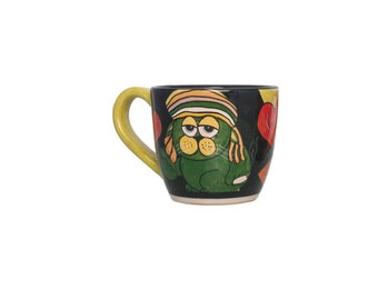 Breakfast mug with Rastafari cat and heart-cats Style