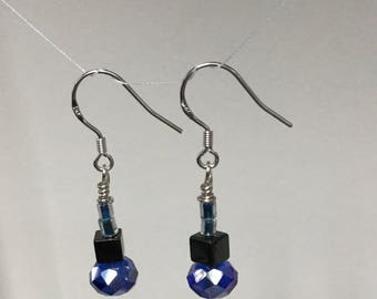 Sterling silver blue crystal hematite dangle earrings