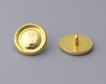 10pcs 14mm round metal button gold small shank button with a mini rectangle on the front
