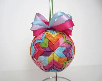 Quilted Ornament, Bright Colors Star Ornaments, Easter Ornament, Christmas Ball, Christmas Ornament, Solid Colors, Ribbon Ornament