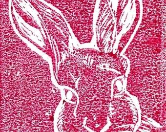 Linoprint-Rabbit engraving and printing