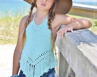 Boho Crochet Halter Top Pattern - Girls Crochet Top Pattern - Crochet Halter Top Pattern Tots Tweens 12 mos - 12 Girls Isabella Halter Top