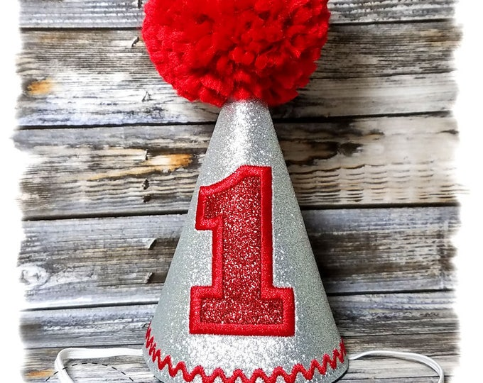 Dog Birthday Hat, Dog Birthday Party,  Dogs First Birthday, Dog Birthday Gifts, Gotcha Day, Silver Birthday Hat