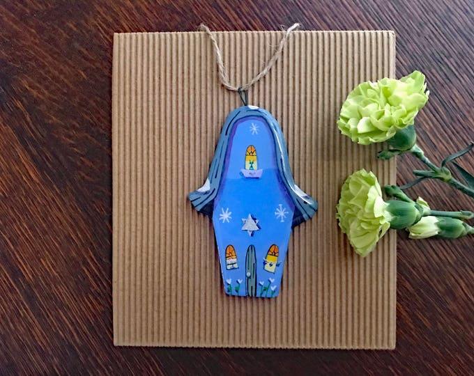 HANUKKAH House TALL Cottage ORNAMENT |  Star of David Decoration | Personalized Ornament | Hanukkah Decor | Keepsake Gift | Chanukah Gift