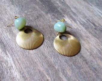 Gold Hoop Earrings, Mint Green Bead and Hoop Dangles, Textured Hoop Charm Earrings, Elegant Summer Statement Jewelry