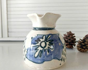 Ceramic Pottery Pitcher / Blue White / Stoneware / Studio Pottery / Signed Pottery / Hand Thrown Pitcher / Vintage Home Decor