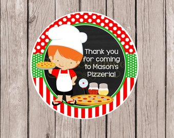Pizza Party Favor Tags or Stickers / Personalized Pizzeria Favor Tags / Choose Boy or Girl & Hair Color / Set of 12