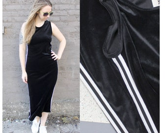 1990's Black Velvet Maxi Sleeveless Bodycon Dress with White Racing Athletic Stripes in Medium Large y2k 2000s Velour Ghetto Hood Street Fab