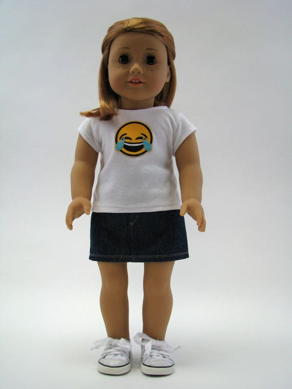 """18 Inch Doll Clothes - Made to Fit Like American Girl - 18 Inch Doll T-Shirt - Emoji Top - 18"""" Doll Top - Laughing Crying"""