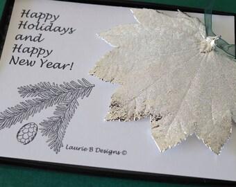 Leaf Ornament Silver, Full MOon Maple Leaf, Leaf Extra Large, Ornament Gift, Christmas Card, Silver Leaf, Tree Ornament, Wedding, ORNA40