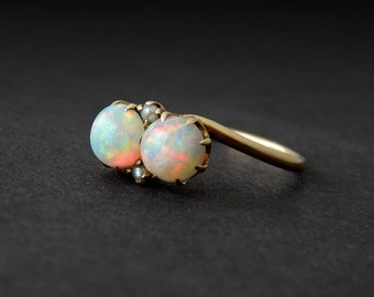 Double Opal Ring with Seed Pearls: 10k yellow gold Victorian ring, size 7.5, high dome gemstone ring, 1900s antique jewelry, claw prongs